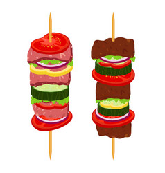 kebabs on skewers roasted meat - lamb pork vector image