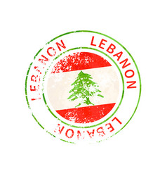 lebanon sign vintage grunge imprint with flag on vector image