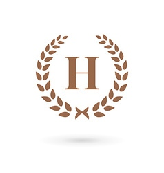 Letter H laurel wreath logo icon design template vector