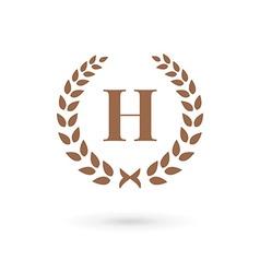 Letter H laurel wreath logo icon design template vector image