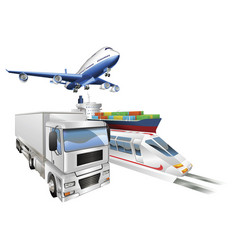 Logistics concept airplane truck train cargo ship vector