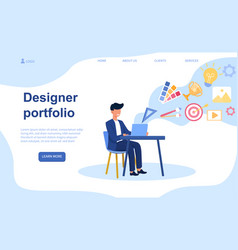 male character is making designer portfolio vector image