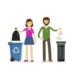 Man woman throws garbage in trash can ecology vector