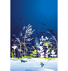 Many tracing silhouettes grass leafs flower vector