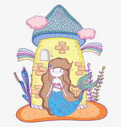 Mermaid woman with castle and rainbow clouds vector