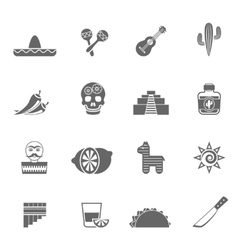 Mexican culture symbols black icons set vector