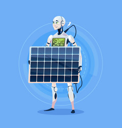 Modern robot charging battery from solar panel vector