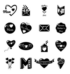 mother day icons set simple style vector image