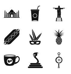 New frontier icons set simple style vector