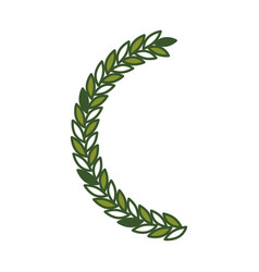 Olive branch half bow in green color vector