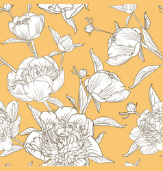 peony flowers seamless pattern yellow background vector image