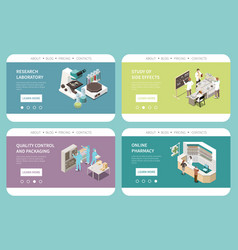 Pharmaceutical production isometric website vector