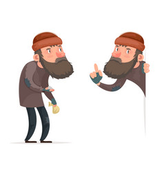 Poor male homeless bum character isolated icon vector