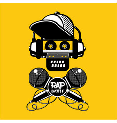 Rap battle sign with skull and two microphones vector
