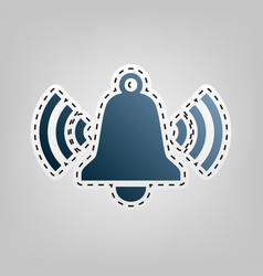 Ringing bell icon blue icon with outline vector