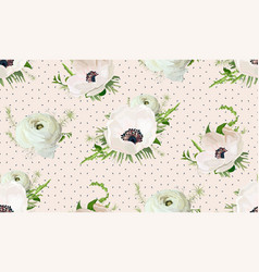 seamless pattern bouquets pink anemone white vector image