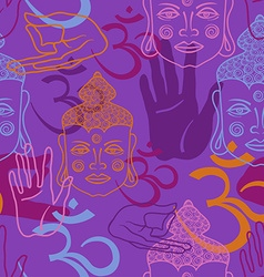 Seamless pattern of buddha face om sign and palm vector