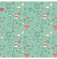 Seamless Pattern with Hand Drawn Vintage Sea vector image