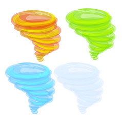 set colored swirl isolated on white background vector image
