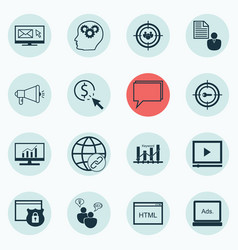 Set of 16 seo icons includes search optimization vector