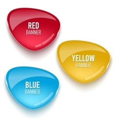 Set of glass red blue and yellow banners vector image