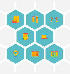 set of wd icons flat style symbols with design vector image