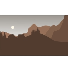 Silhouette of house on the mountain vector image