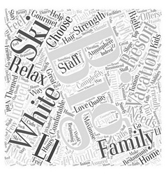 Skiing At The Big White Resort Word Cloud Concept vector image