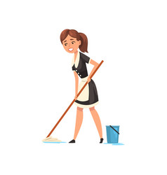Smiling maid mopping the floor housemaid vector