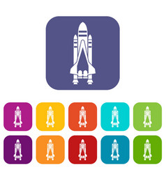 Space shuttle icons set vector