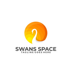 swans moon template vector image