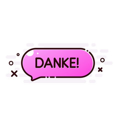 Thank you poster with pink cartoon speech bubble vector