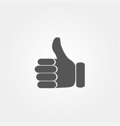 thumb up icon in flat style grey color vector image