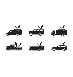 Transmission and broadcasting vehicles vector