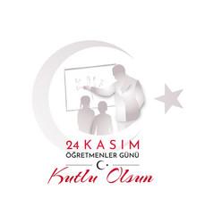 Turkish holiday happy teacher s day translation vector