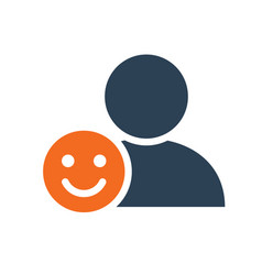 User profile with happy face line icon smile vector