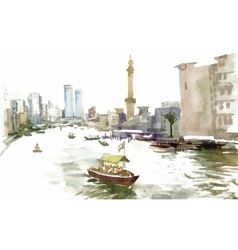 Watercolor city canal with boat vector