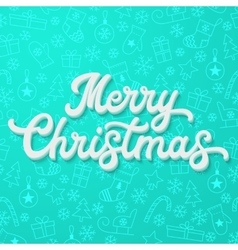 White 3d lettering on azure Christmas background vector image
