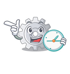 With clock gear on style character shape funny vector