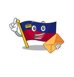 With envelope flag liechtenstein hoisted above vector