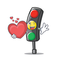 With heart traffic light character cartoon vector