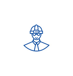 worker with helmet line icon concept worker with vector image