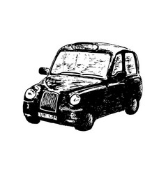 black taxi car isolated drawn sketch vector image