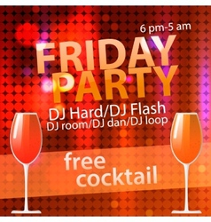 Bright Friday party free cocktail flyer template vector image