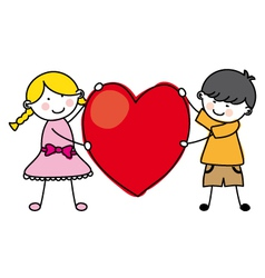 children holding a heart vector image vector image