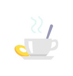 cup of tea or coffee and cookie on plate icon vector image