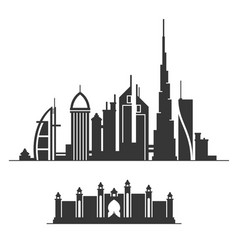 dubai city skyline silhouette on white background vector image