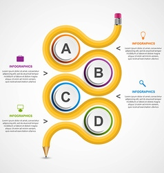 Education infographics template with curved pencil vector image vector image