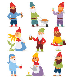 gnome garden set funny little character cute fairy vector image