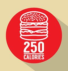 Single Hamburger 250 Calories Symbol vector image